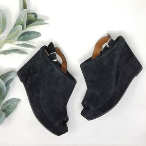 LUCKY BRAND Black Suede Wedge Booties 7M
